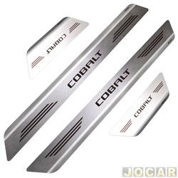 Aplique da soleira - Mult - Cobalt 2011 em diante 4 portas - aço inox escovado auto colante - jogo - 11306