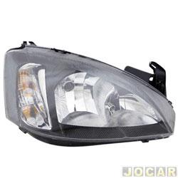 Farol - importado - Corsa / Montana 2008 em diante - regulagem manual - pisca liso - mascara negra - lado do passageiro - cada ( unidade ) - 251429