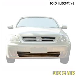 Aplique da grade - BMJ - Corsa - Montana 2003 a 2007 ex / a linha sport - 5 peças - Filetes horizon. e aplique no pára - choque - cromado - dianteiro - jogo - 027