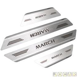 Aplique da soleira - Mult - March 2011 em diante 4 portas - aço inox escovado auto colante - jogo - 11654