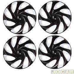 Calota aro 14 - Podium - Universal Twister - branca e preta - jogo - P847