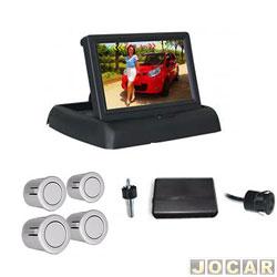 Sensor de estacionamento - Over Vision - tela modelo flip - down - 4 sensores - prata - cada ( unidade ) - 109435PTA