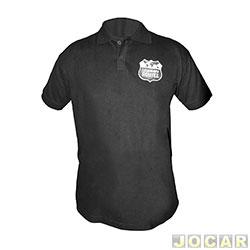 Camisa polo - Auto+ - Legendary Routes 100% algodão - tamanho GG - preta - cada ( unidade ) - 93017
