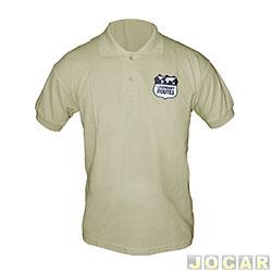 Camisa polo - Auto+ - Legendary Routes 100% algodão - tamanho GG - bege - cada ( unidade ) - 93038
