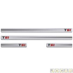 Aplique da soleira - Sport Inox - Golf TSI 2014 em diante - autoadesivo resinado - 4 portas - jogo - VW030E4P