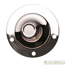 Calota do centro da roda Volkswagen - alternativo - Fusca 1957 até 1974 - Kombi 1957 até 1981 - de ferro para roda de 5 furos - modelo viagem com emblema W - cromada - cada (unidade)