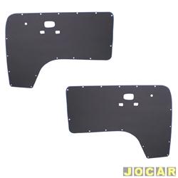 Revestimento de porta - alternativo - Kombi Clipper 1976 até 1996 - Revestec - com furo - preto - par