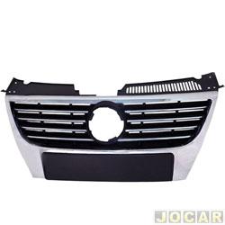 Grade dianteira - importado - Passat - 2006 até 2011 - moldura cromada - preta - cada (unidade) - 22367