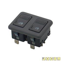 Interruptor do vidro - alternativo - KTR - Gol 1995 at� 1999 - Santana 1993 at� 1997 - duplo - cinza claro - cada (unidade) - BSD3E
