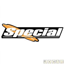 Letreiro - alternativo - Gol 1998 até 2005 - Special - adesivo - preto/laranja - prata - traseiro - cada (unidade)