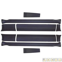 Friso lateral - alternativo - Gol GTS 1987 até 1990 - fixado com parafusos e fita adesiva - preto - jogo