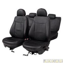 Capa para banco - Car Fashion - Gol/Voyage 2009 em diante - Gol G5 e Gol G6  - em courvin-assentos dianteiro/traseiro - preto - jogo - 1202