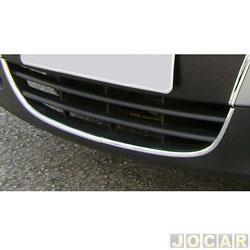 Aplique da grade - NK Brasil - Gol/Parati/Saveiro 2006 até 2008 - Auto-adesiva/ Tipo U - cromado - dianteiro - inferior - jogo - CM7935