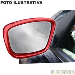 Aplique aro do retrovisor - NK Brasil - Gol/Voyage/Saveiro 2008 até 2012 - Externo - vermelho - jogo - CM-1475