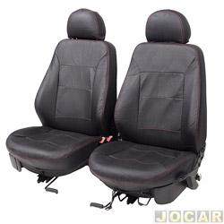 Capa para banco - Car Fashion - Saveiro 2009 até 2016  - em couro reconstituído-assentos dianteiro - preto - par - 3009