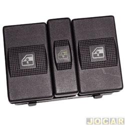 Interruptor do vidro - Kostal - Santana/Santana Quantum 1998 até 2006 - traseiro - duplo com bloqueio - preto - cada (unidade) - 3043000