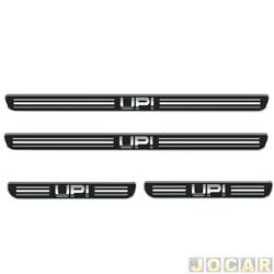 Aplique da soleira - Emblemax - up! 2014 em diante - resinado - 4 portas - auto colante - preto e cromado - jogo - SOL015