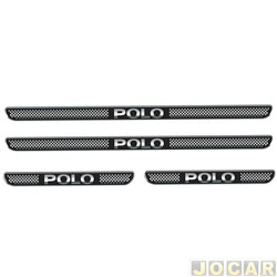 Aplique da soleira - Emblemax - Polo 2002 em diante - resinado - 4 portas - auto colante - preto e cromado - jogo - SOL016