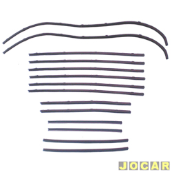 Canaleta - Opala 1969 até 1984 - 4 portas - com pestana - preta - jogo