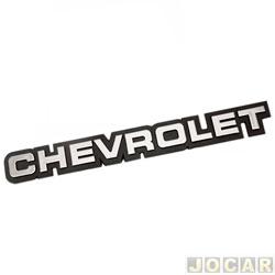 Letreiro - alternativo - Opala/Caravan 1985 até 1988 - Monza 1982 até 1990 - Chevrolet  - grande - prata com fundo preto - cada (unidade)