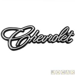 Letreiro - alternativo - Opala/Caravan 1975 até 1992 - Chevette 1973 até 1993 - 'Chevrolet - manuscrito - adesivo - cromado - cada (unidade)