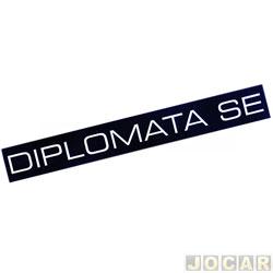 Letreiro - alternativo - Opala/Caravan 1987 até 1989 - Diplomata - para friso - fundo preto e letras prata - par