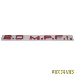 Letreiro - alternativo - Monza 1991 até 1993 - Vectra 1993 até 1996 - 2.0 M.P.F.I. - alto relevo de plástico - vermelho - cada (unidade)