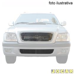 Aplique da grade - BMJ - S10/Blazer 2006 até 2008 - 2 peças -Filetes horizon. e aplique no pára-choque - cromado - dianteiro - jogo - 29.1 / 034
