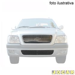 Aplique da grade - BMJ - S10/Blazer 2006 até 2008 - 2 peças -Filetes vertica. e aplique no pára-choque - cromado - dianteiro - jogo - 32.1 / 039