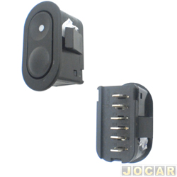 Interruptor do vidro - Corsa 1994 at� 2002 - Classic 2003 at� 2010 - 6 pinos - preto - lado do passageiro - cada (unidade)