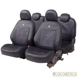 Capa para banco - Car Fashion - Spin 2012 em diante - 5 lugares - em couro reconstituído - preto - jogo - 0077
