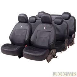 Capa para banco - Car Fashion - Spin 2012 em diante - 7 lugares - em couro reconstituído - preto - jogo - 2001