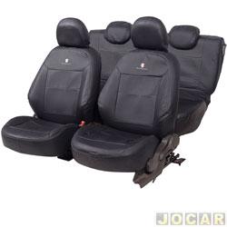 Capa para banco - Car Fashion - Cobalt 2011 até 2015 - em couro reconstituído-assentos dianteiro/traseiro - preto - par - 8003