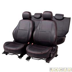 Capa para banco - Car Fashion - Onix/ Prisma 2013 em diante - assento dianteiro/traseiro encosto inteirisso-courvin - preto - jogo - 1400
