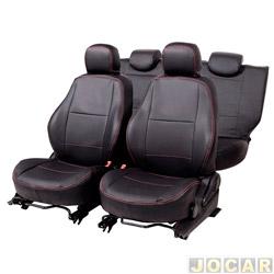 Capa para banco - Car Fashion - Onix/ Prisma 2013 em diante - assento dianteiro/traseiro encosto bipartido-courvin - preto - jogo - 0800