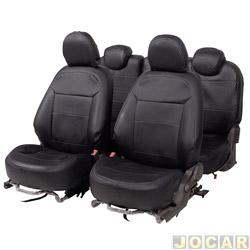 Capa para banco - Car Fashion - Spin 2012 em diante  - 5 lugares - em courvin - preto - jogo - 1134