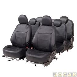 Capa para banco - Car Fashion - Spin 2012 em diante - 7 lugares - em courvin - preto - jogo - 1141