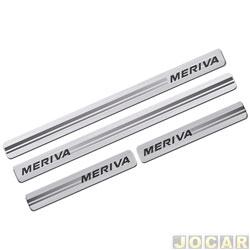 Aplique da soleira - Sport Inox - Meriva 2002 até 2012 - resina aço escovado - autoadesivo - jogo - GM017E4P