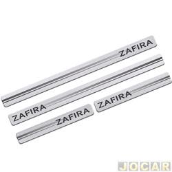Aplique da soleira - Sport Inox - Zafira 2001 até 2012 4 portas - resina aço escovado - auto colante - jogo - GM027E4P