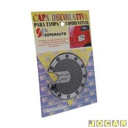 Aplique da tampa tanque combustível - Corsa 1996 até 2002-Omega até 1998-Astra 1995 - Sóparauto - preto e cromado - adesivo - cada (unidade)