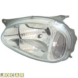 Farol - Arteb - Corsa 2001 até 2002 - Classic 2003 até 2010 - lente lisa - carcaça cinza - lado do motorista - cada (unidade) - 0160379