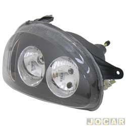 Farol tuning - alternativo - Inov (RCD) - Corsa 1994 até 2002 - Classic 2003 até 2010 - foco duplo - máscara negra - lente lisa - H1/H1 - lado do passageiro - cada (unidade) - 21349