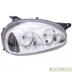 Farol tuning - alternativo - Inov (RCD) - Corsa 1994 até 2002 - Classic 2003 até 2010 - foco duplo - máscara cromada - lente lisa - H1/H1 - lado do passageiro - cada (unidade) - 21369