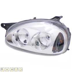 Farol tuning - alternativo - Inov (RCD) - Corsa 1994 até 2002 - Classic 2003 até 2010 - foco duplo - máscara cromada - lente lisa - H1/H1 - lado do motorista - cada (unidade) - 21379