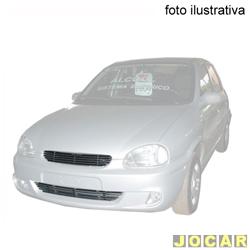 Aplique da grade - BMJ - Corsa/Pick-up 2000 até 2002 - Classic 2003 até 2010 - 2 peças -Filetes horizon. e aplique no pára-choque - cromado - dianteiro - jogo - 014