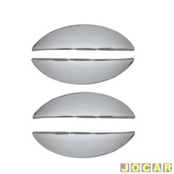 Capa da maçaneta externa - Celta 2000 em diante - Prisma 2006 até 2012 - 4 portas - auto-adesiva - cromada - jogo