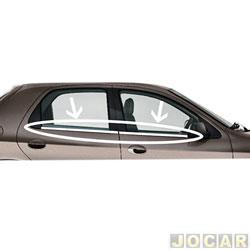 Friso da janela - NK Brasil - Celta 2000 em diante - Prisma 2006 até 2012 - Auto colante/ 4 portas - cromado - jogo - CM0737