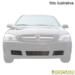 Aplique da grade do para-choque - BMJ - Astra todos apartir de 2003 - 3 peças - filetes horizontais - cromado - dianteiro - cada (unidade) - 044