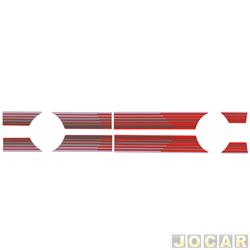 Faixa adesiva - alternativo - Pampa 1994 até 1997 - auto colante - vermelha - jogo