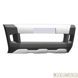 Aplique da grade do para-choque - TG Poli - Ranger 2012 até 2016 - preto e prata - dianteiro - cada (unidade) - 01.133
